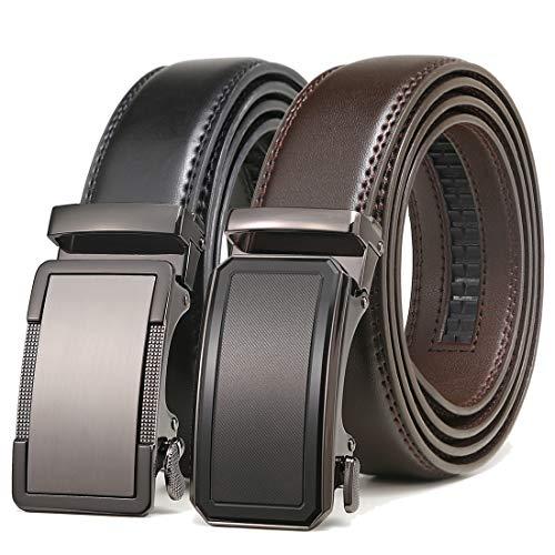 Mens Belt 2 Pack,Leather Ratchet Click Belt Dress with Slide Buckle 1 3/8