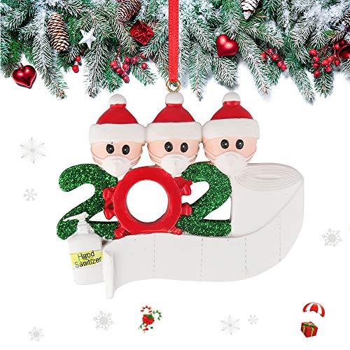 Eyscoco Weihnachtsschmuck,2020 Survived Family Christmas Ornament,3D dreidimensional Weihnachtsschmuck,DIY Name Gruß Dekoration Schneemann Anhänger mit Maske Für Weihnachtsbaum Deko (Family of 3)