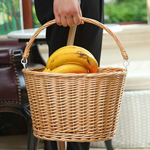 Wicker Picnic Basket with Handle Hand-Woven Fruit Basket Gift Baskets Portable Supermarket Shopping Basket Home Storage Basket Outdoor Camping Basket