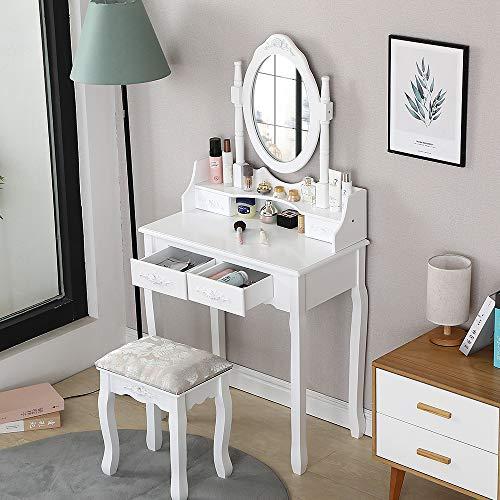 Toeletta con Specchio e Sgabello, Postazione Trucco, 2+2 Cassetti, Tavolo Cosmetici per Camera da Letto, Bianco