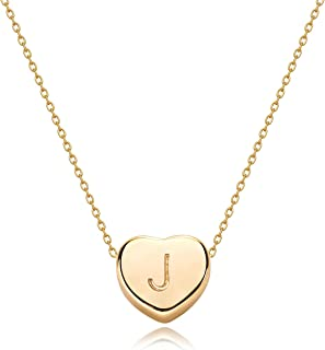 Tiny Gold Initial Heart Necklace-14K Gold Filled Handmade Dainty Personalized Letter Heart Choker Necklace Gift for Women ...