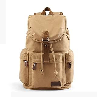 Men Canvas Backpack Student School Bag Retro Computer Backpack High Capacity Traveling Backpack ; (Color : Khaki)