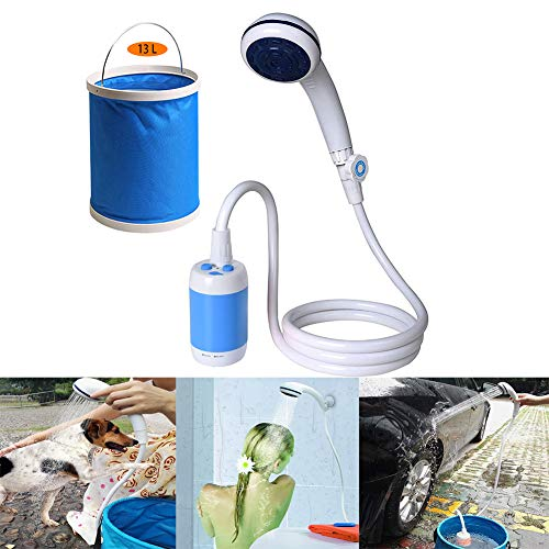 LUKUCEA Portable Camping Shower, Outdoor Shower USB Rechargeable 4400mAh Battery Powered Shower Pump with Expandable 3 gallons Bucket for Camping, Hiking, Traveling,Blue