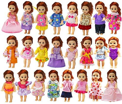 ZITA ELEMENT 6er Fashionistas Puppen Kleid Kleidung für Barbie Kelly Puppe Kleider Bekleidung Mädchen Spielzeug Minipuppen Abendkleid
