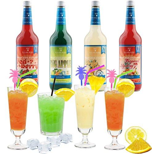 Cocktail Paket für 68 Mixgetränke alkoholfrei | 4 x 0,7l Cocktail-Sirup Mix mit allen Zutaten | Einfach Saft & Eis auffüllen, fertig