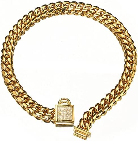 18K Gold Big Dog Collar Top Luxury Metal Stainless Steel 14mm Training Collar Cuban Link with product image