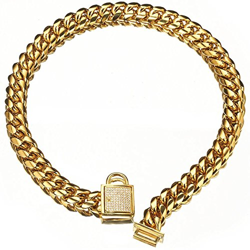 Abaxaca Hundehalsband, personalisierbar, Edelstahl, 14 mm, 18 Karat Gold, luxuriöses Hundehalsband, kubanische Gliederkette mit Zirkonia-Verschluss, Kette für Hunde