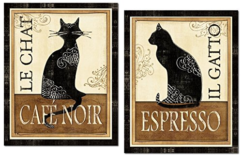 Lovely Le Chat and El Gato Cat Corfee Espresso Signs by Veronique Charron; Two 11x14in Poster Prints