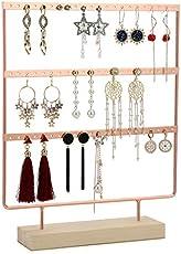 Biewoos Earring Organizer Jewelry Stand Organizer, Black Metal and Wood Basic Large Storage Earrings Holder (Rose Gold 1)