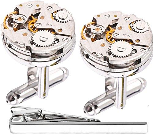 Manschettenknöpfe mit Uhr-Mechanik-Optik / Steampunk-Stil, mit Krawattenklammer und Geschenkbox