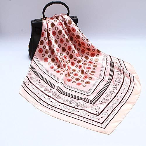 Schals für Frauen Schal Quadratischer Schal Frauen Polka Dot Cashew Blume Seidenschal Muslim Satin Schal-Rosa_Punkt Cashewnüsse 90cm
