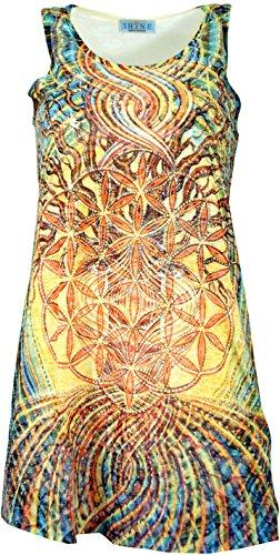 Guru-Shop Psytrance Minikleid, Longtop, Damen, Blume des Lebens im Baum des Lebens, Synthetisch, Size:36, Kurze Kleider Alternative Bekleidung