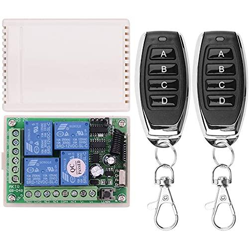 Fauge 12V Interruptor de Relé Remoto InaláMbrico 4 Canales 433Mhz Transmisor InaláMbrico con Receptor Remoto, Interruptor MomentáNeo de 12V