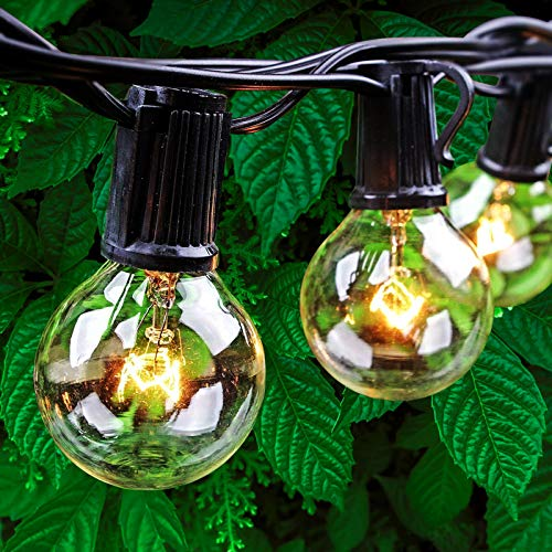 50Ft G40 Outdoor String Lights, Waterproof Globe Lights with 53 Clear Bulbs Hanging Lights for Patio Backyard Balcony Cafe Bistro Parties Lighting Indoor Outdoor Commercial Decor