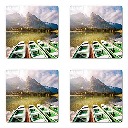Angelboot Untersetzer 4er Set malerisch Foto Hintersee See mit Holzpier Deutschland Alpen Wald Bäume Quadrat Hartfaserplatte glänzend Untersetzer Untersetzer Untersetzer Untersetzer Untersetzer bunt