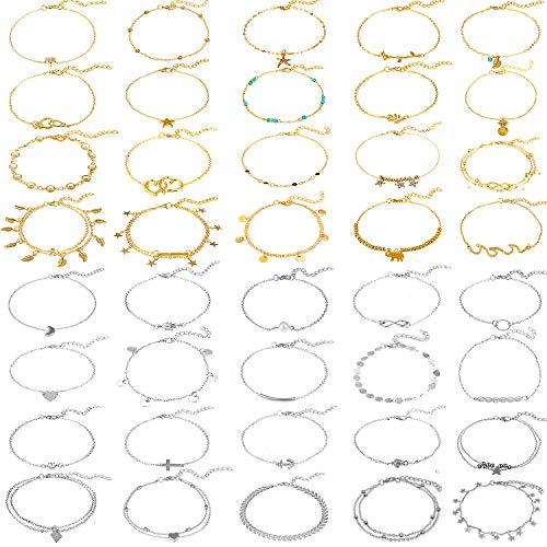 40 Pieces Adjustable Beach Anklets Boho Anklet Bracelets Boho Foot Chains for Women Girls(Gold, Silver)