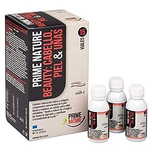 PRIMENATURE Beauty: Cabello, Piel y Uñas. Suplemento de nutrientes esenciales y vitaminas en un vial líquido diario. Colágeno hidrolizado, Ácido hialurónico, Q10, Retinol, Vitamina C, etc, etc.