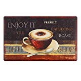 2PCS Kitchen Mat 18 x 30 Inch, Coffee Themed Anti-Fatigue Chef Mat Kitchen Rug Waterproof Foam Cushioned Floor Rugs