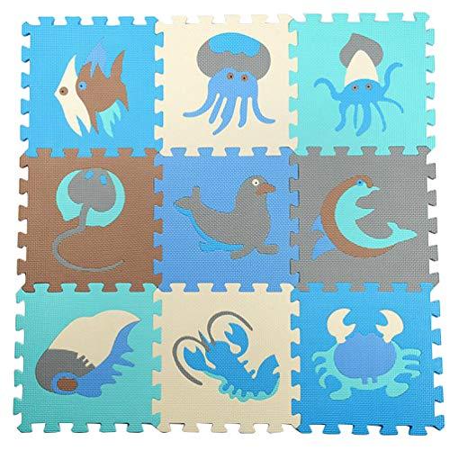 Brinny Puzzlematte für Babys Kinderspielteppich Spielmatte Spielteppich | 9 Schaumstoffplatten mit Ozean Meerestiere +1cm dickere weichere Schadstofffrei, TÜV Formamid geprüft phantasiefördernd