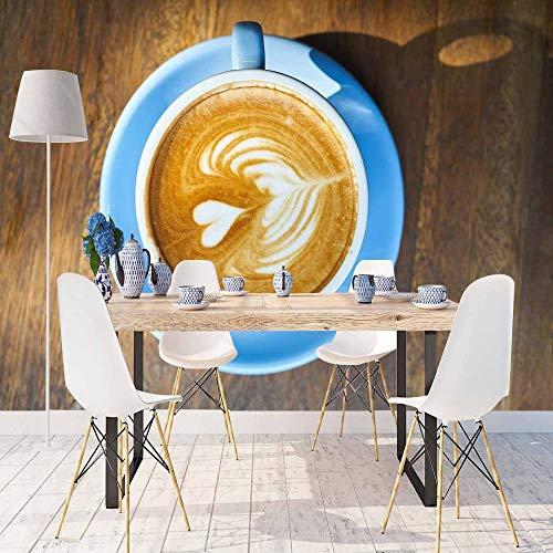 Blauw Koffie Beker Bruin Wit Harten Houten Tafel 3D Print Foto Reinigbare Stof Mural Home Decor Keuken Achtergrond Behang 30 x 300 cm.