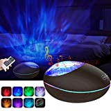 Ocean Wave Projector Night Light Projector with 7 Lighting Modes 12 LED Adjustable Lightness Bluetooth Music Speaker Machine & Support TF Card AUX Baby Light Timer for Bedroom Decor Kids Living Room