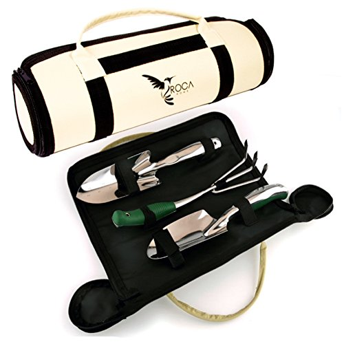 Garden Tools Set - Gardening Tools with Garden Tools Carry Bag by ROCA. Great Gardening Gifts....