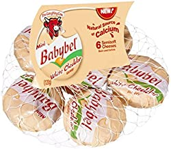 LAUGHING COW Mini Babybel Semi-Soft Cheese, White Cheddar, 4.2 Ounce (Pack of 12)