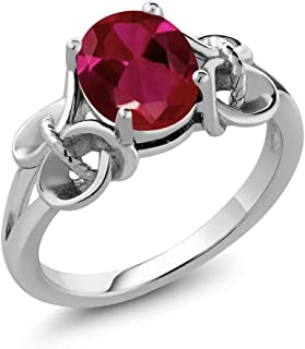 Gem Stone King Sterling Silver Red Created Ruby Women's Ring (2.39 cttw, 9x7mm Oval) (Available 5,6,7,8,9)