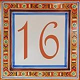 Placa de Calle con número de casa y/o Texto Personalizable, azulejo de Barro de 15x15x0.5cm