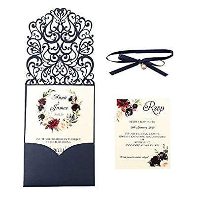 DreamBuilt Vertical Classic Style Invitations Cards with Ribbons and Pearl Embellishments (Navy Blue, 50 pcs Blank)