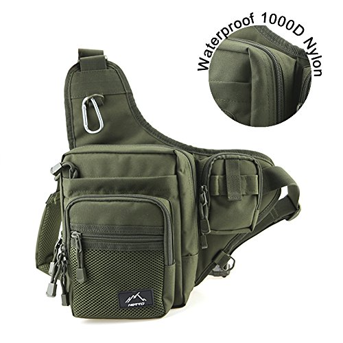 Hetto Waterproof Fishing Tackle Bag Backpack - Sports Sling Shoulder Crossbody Chest Nylon Bag Pack...
