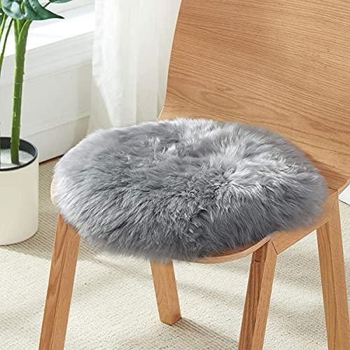 SXYHKJ Lammfell-Teppich Lang Kunstfell Schaffell Imitat | Wohnzimmer Schlafzimmer Kinderzimmer | Als Faux Bett-Vorleger oder Matte für Stuhl Sofa (Grau, 45 x 45 cm)