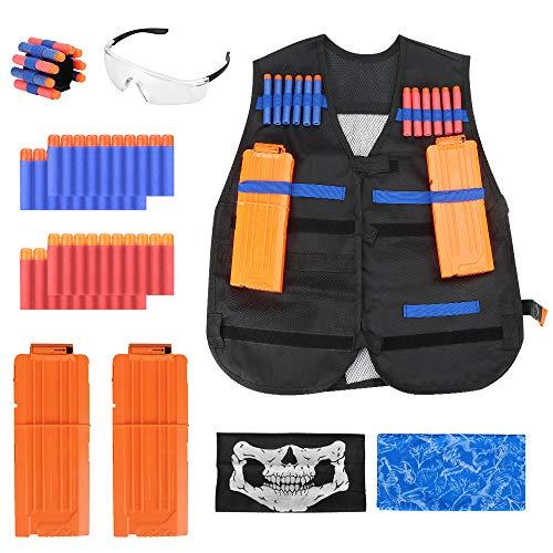 welltop Kinder Taktisch Vest Battle Weste Kit für Nerf Guns N-Strike Elite Serie,40Pcs Darts Bullets, 1Pc Goggles, 1Pc 8-Dart Wrist Strap, 2Pcs Seamless Face Masks, 2Pcs 12-Dart Quick Reload Clips