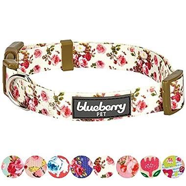 Blueberry Pet 8 Patterns Spring Scent Inspired Pink Rose Print Ivory Dog Collar, Medium, Neck 14.5 -20 , Adjustable Collars for Dogs