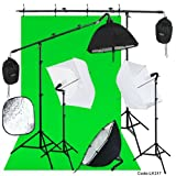 Linco Photography Studio Lighting Backdrop Photography Background Muslin 2 Set Boom Stand Photo Light Kit with 7 Feet Reflector Arm/Boom Arm/Background Support Arm (3 in 1) Lincostore