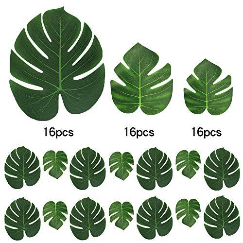 CHBOP 48 STK Künstlich Blätter (16 STK ×3 Größe) gefälschte Palmblatt Palme Monstera Kunstpflanze Floristik Basteln Deko für Hawaii Jungle Beach Dschungel Theme Party Dekorationen