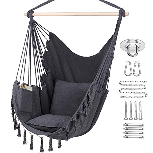 Y- STOP Hammock Chair Hanging Rope Swing, Max 330 Lbs, 2 Cushions Included-Large Macrame Hanging Chair with Pocket, Quality Cotton Weave for Superior Comfort,Durability (Grey)