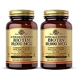 Solgar Biotin 10,000 mcg, 120 Vegetable Capsules - Pack of 2 - Energy, Metabolism, Promotes Healthy Skin, Nails & Hair - Super High Potency - Non-GMO, Vegan, Gluten & Dairy Free - 240 Total Servings
