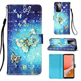Voanice for Samsung Galaxy A72 Case,Premium PU Leather Wallet with Card Holder Slots Kickstand Flip Cover Girls Women Magnetic Full Body Protective Wrist Strap for Samsung Galaxy A72 5G-BlueButterfly