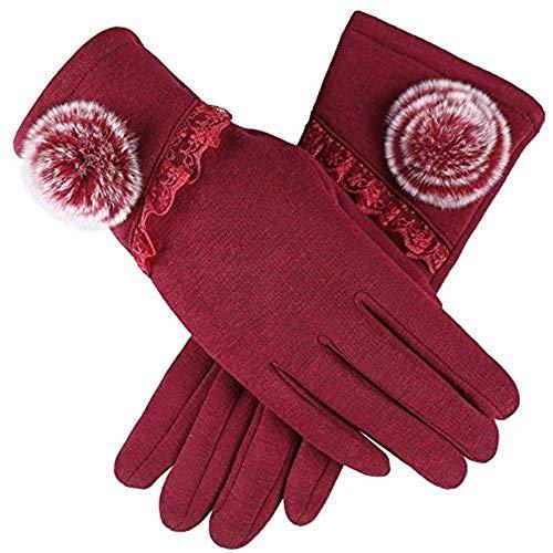 Elodiey Ladies Seite Offen Handschuhe Warme Männer Mode Fahrt Verdicken Nnliche Einfarbig 20er Jahre Fäustlinge Lederhandschuhe (Color : O-Bordeaux, Size : One Size)