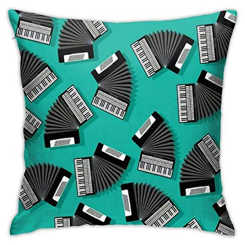 WH-CLA Instrumento De Acordeón,Fundas De Almohada Poliéster Funda Decorativa para Cojín Moda Funda De Almohada para Cojín Elegante Throw Pillow Case para Oficina Coche Sofá,45X45Cm