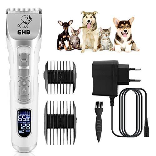 rasoio elettrico per cani GHB Tosatrice Cani Professionale Tosatrice Animali Tosatrice Elettrica con 4 Pettini per Cani Gatti Animali ECC (Bianco Argento)