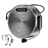 Amplificador de Voz Portátil 15 W, 2600mAH Altavoz Bluetooth con Micrófono Inalámbricos y Auriculares, Soporte Música TF Grabación Reloj, Mini Sistema de Amplificador Sonido para Profesores