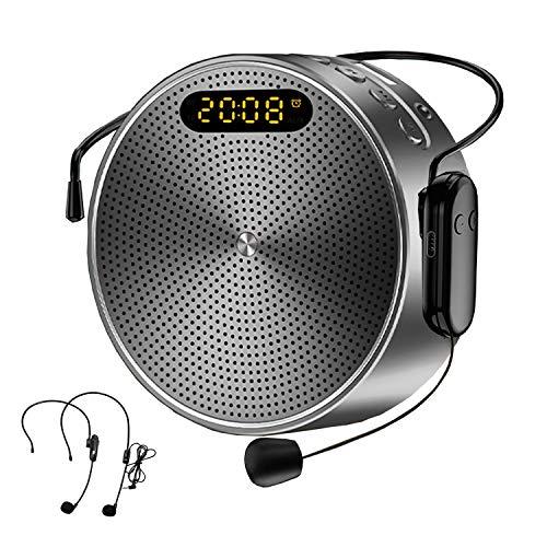 Bluetooth Sprachverstärker Lautsprecher 15W, 2600 mAh Tragbar Sprachverstärker mit Kabellos Mikrofon und Headset, Unterstützt Musik TF Aufnahme Uhr, Mini Stimmverstärker für Trainer Lehrer Tagungen