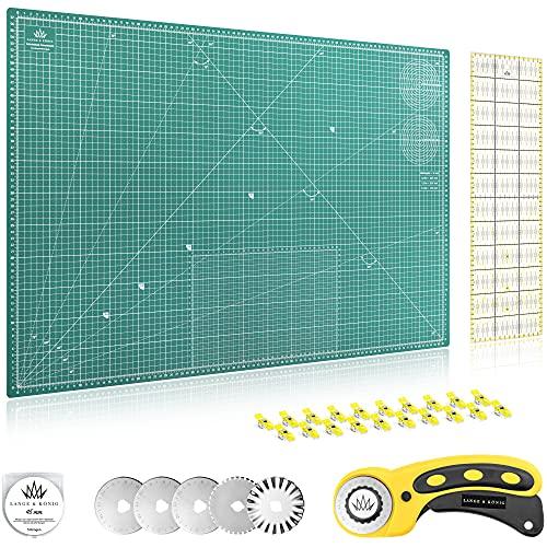 Lange & König Kit de Cuter Rotativo en 3 diferentes Tamaños [A1, A2, A3] incluye Base de Corte, Cortador Rotativo, 5 Cuchillas de Repuesto, Regla de Patchwork + 20 Pinzas Costura (Verde, A1)