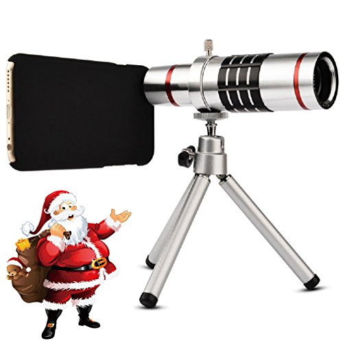 Youniker Optical Camera Lens Kit for iPhone 6 Plus,18x Manual Focus Telephoto Lens for iPhone 6S Plus,Including 18x Aluminum Zoom Telescope Camera Lens with Tripod + iPhone6 Plus/6S Plus Case