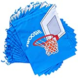 Basketball Party Favor Drawstring Gift Bags (12 x 10 in, 12 Pack)