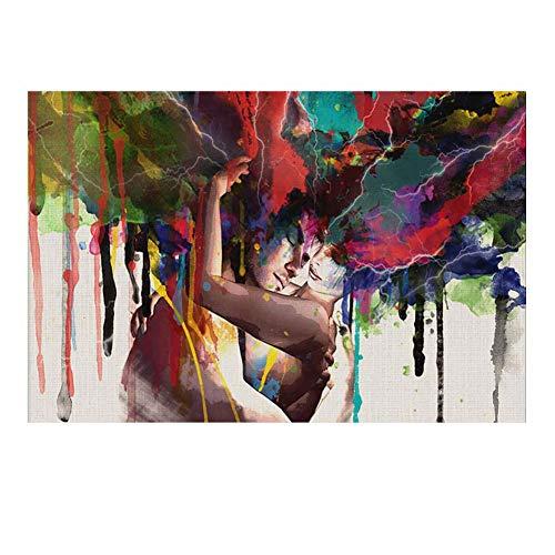 LINAG Leinwanddrucke Bilder Einteilig Abstrakt Bunt Dekoration, Kunstdrucke Sexy Paar Moderne Wanddeko für Wohnzimmer Wohnung Deko,A no Frame,75 * 100CM