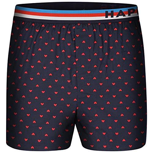 Happy Shorts Boxershorts Herren/Web-Boxer mit Jersey-Inlay – Modell: Herzen M