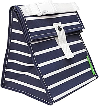 Lunchskins Reusable Lunch Tote, Navy Blue Stripe